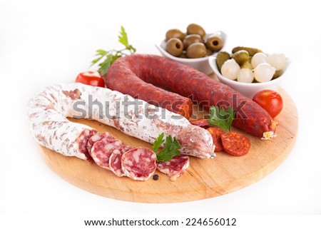 salami and chorizo - stock photo