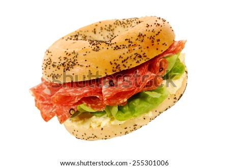 Salami ham and cream cheese bagel sandwich on isolated white background - stock photo