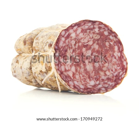 Salami isolated on white - stock photo