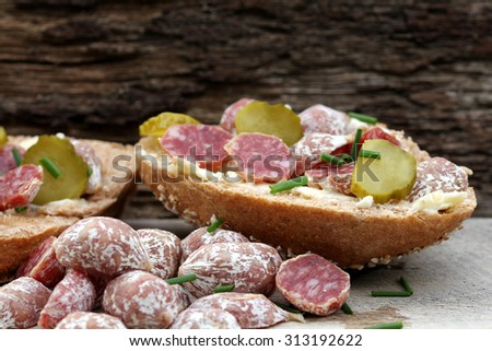 salami rolls - stock photo