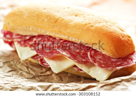 Salami Sandwich - stock photo