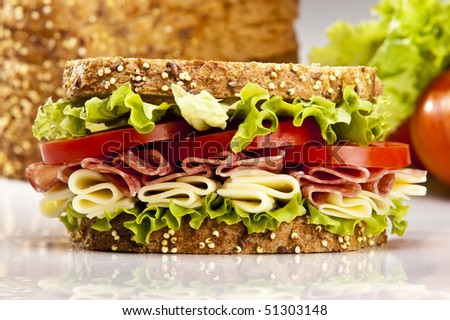 Salami sandwich with cheese lettuce and tomato