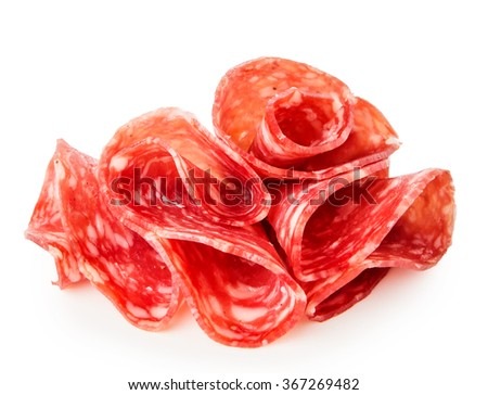 Salami sausage slices isolated on white background  - stock photo