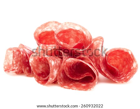 Salami sausage slices isolated on white background cutout - stock photo