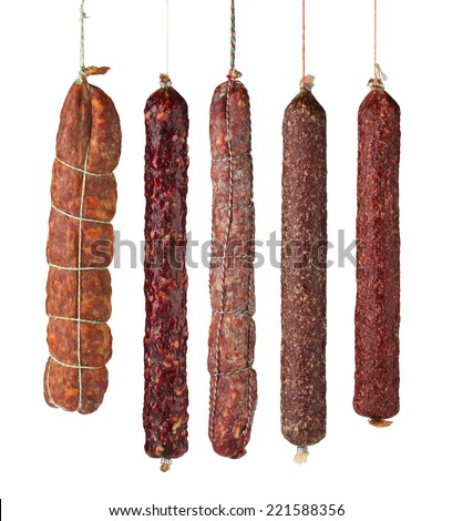 salami sausages isolated on white background - stock photo