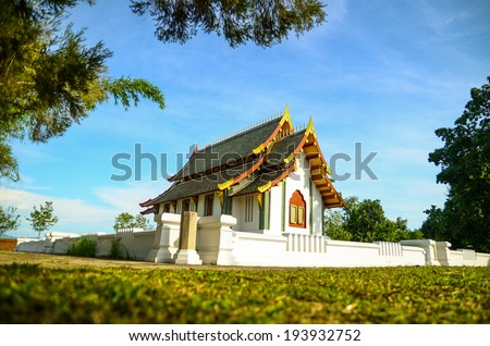 Salang temple at sunny day . Wat Salang is most important of Long district ,Phrae - stock photo