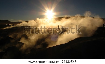 Salar de Uyuni geysers - Bolivia - stock photo