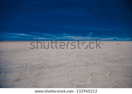 Salar de Uyuni in Bolivia in dry season - stock photo