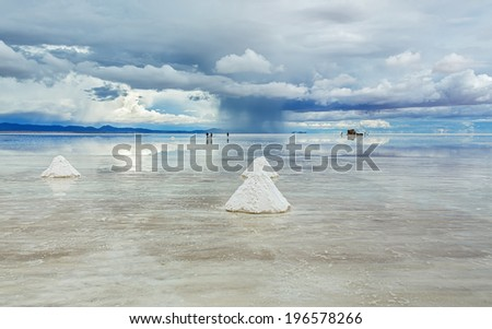 Salar de Uyuni is largest salt flat in the World (UNESCO World Heritage Site) - Altiplano, Bolivia, South America - stock photo