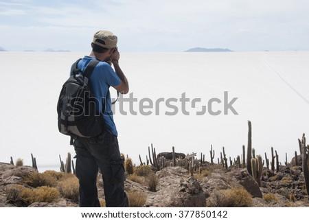 Salar de Uyuni, Isla del Pescado. Bolivia. - stock photo