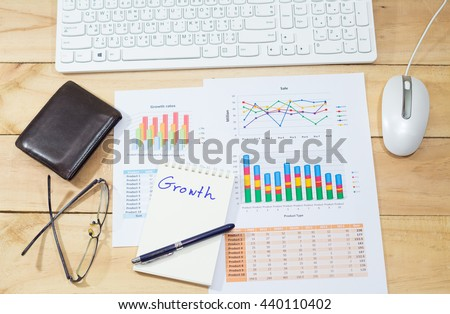 Sale analysis report show result of growth success charts and graphs on document paperwork with glasses, leather wallet blank space wooden table background - stock photo