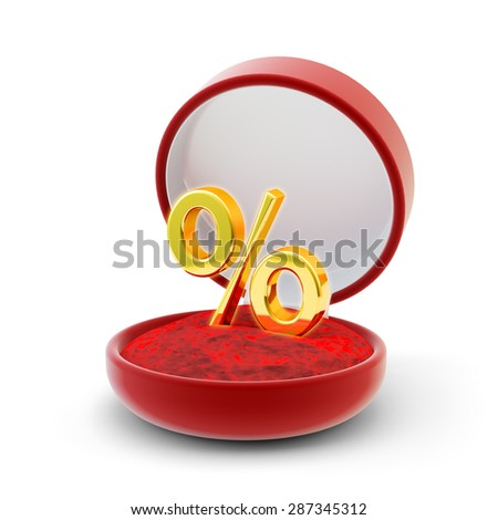 Sale and discount offer business concept, gold percentage symbol in the red velvet gift box isolated on white background - stock photo