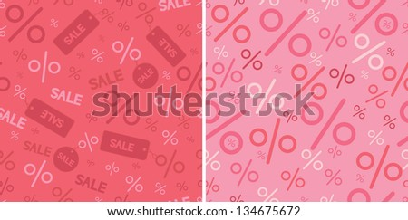 Sale and percentage signs two seamless pattern backgrounds raster - stock photo