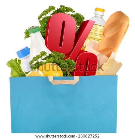 Sale. Bag with groceries and percentage symbol isolated on white background - stock photo