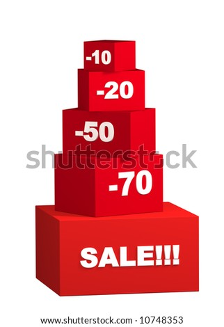 Sale - boxes with the goods for reduced prices. Objects over white - stock photo