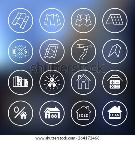 Sale buildings materials (roof, facade) site icons set ion blurred background - stock photo