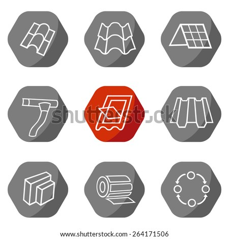 Sale buildings materials (roof, facade) site icons set isolated on white background - stock photo