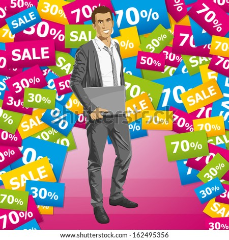 Sale concept. Business man in suit with folded hands - stock photo