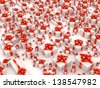 Sale concept - hundreds gift boxes on white background - stock photo