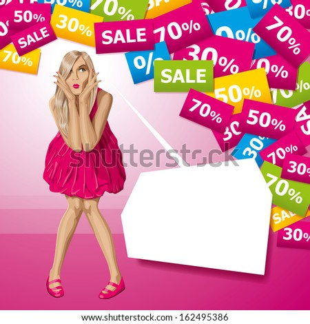 Sale concept. Surprised blonde in pink dress do not know what to buy - stock photo
