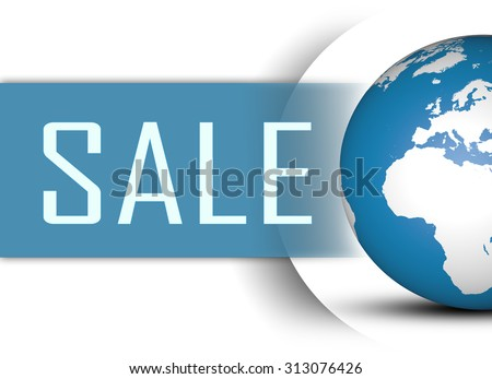 Sale concept with globe on white background