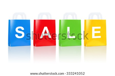 sale, consumerism, advertisement, discount and retail concept - many colorful shopping bags - stock photo