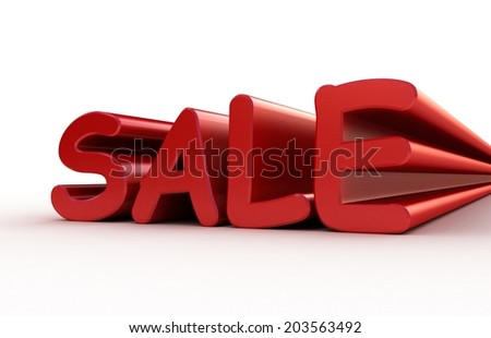 Sale. 3D text on a white background