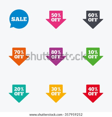 Sale discounts icons. Special offer signs. Shopping price tag symbols. Flat colored graphic icons.
