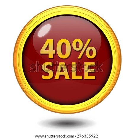 Sale forty percent circular icon on white background