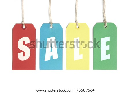 Sale Fun! Sale display concept using price tags. Isolated on white. - stock photo