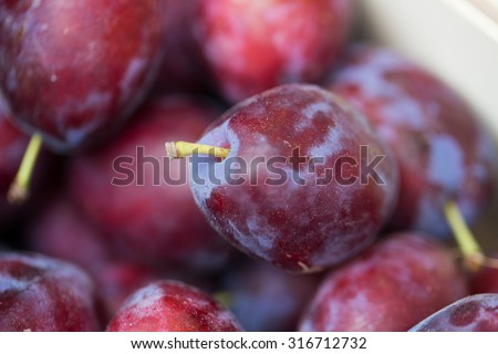 sale, harvest, food, fruits and agriculture concept - close up of satsuma plums in box at street market - stock photo