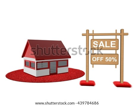 sale home- 3D illustration - stock photo