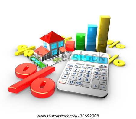 sale house and calculator - stock photo