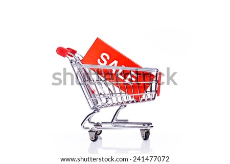 sale icon and shopping cart isolated - stock photo