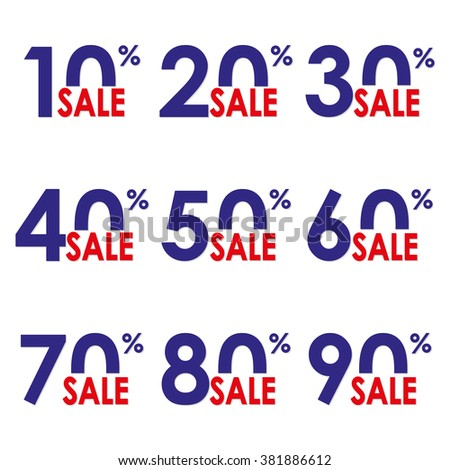 Sale icon set. Discount price and sales design template. Shopping and low price symbols. 10,20,30,40,50,60,70,80,90% sale. - stock photo