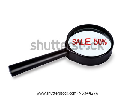 Sale in magnifier - stock photo