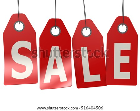 Sale label hanging from top, 3D rendering