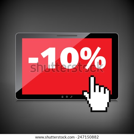 Sale, markdown, discount 10 percent on High-quality tablet screen. Reduced Prices. Special offer. Shopping badge with percentage discount. - stock photo