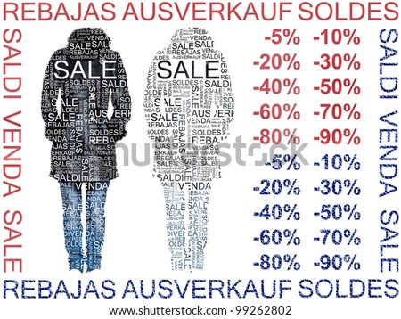 Sale of Clothes. Sheepskin with fur and Jeans Words of Sales made on different languages.  Group of isolated clothes on white background with cutout words on it. - stock photo