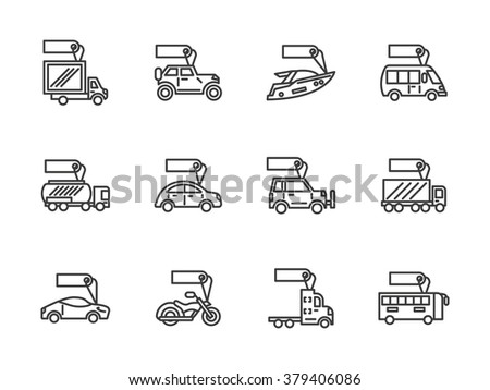 Sale of different mode of vehicles. Car and bus, van and trailer, yacht and motorbike. Signs with label. Set of black simple line icons. Web design elements for business, website and mobile. - stock photo