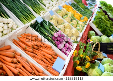 Sale of fresh vegetables in the grocery store - stock photo