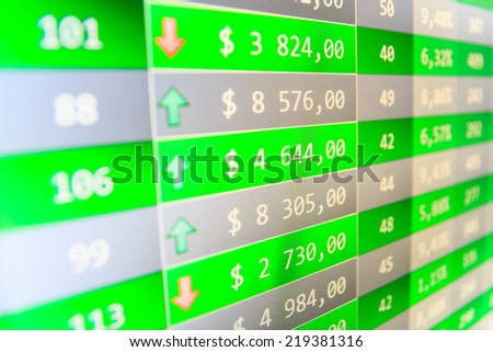 Sale of stock exchanges. Growing up numbers symbolizing growth. Forex trade. Business data shown on computer screen. Screen live display. Stock chart on a monitor. Business stock exchange.   - stock photo