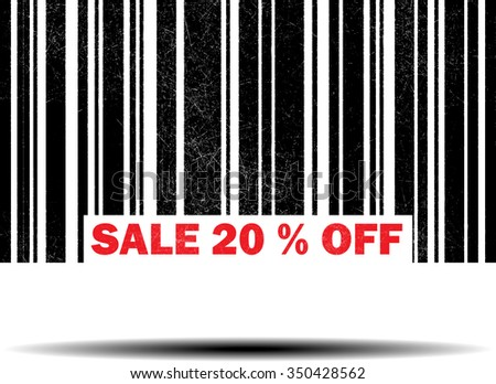 sale 20% off- black barcode grunge rubber stamp design isolated on white background. Vintage texture.