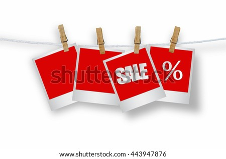 Sale paper label in photo frame paper hanging on white background, discount banner. - stock photo