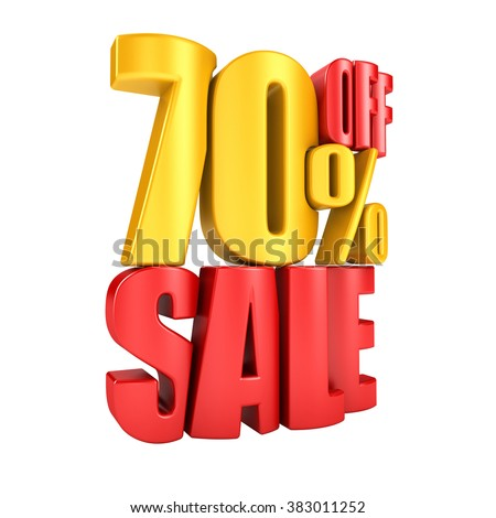 Sale 70 percent off in red letters 3d render on a white background.