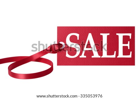 Sale price ticket with red ribbon isolated on white.