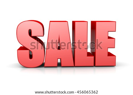 Sale Red 3D Text English Language Illustration on White Background - stock photo