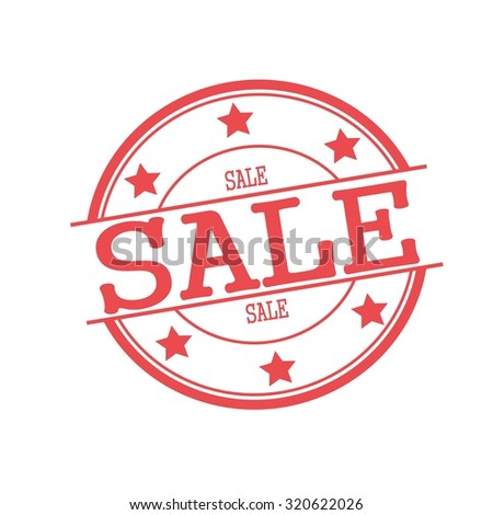Sale red stamp text on red circle on a white background and star