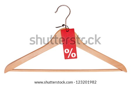 Sale Red Tag With Percentage Symbol Hanging on Wooden Hanger - Clipping Path