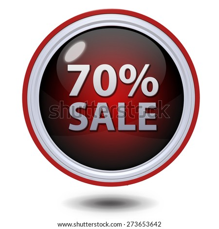 Sale seventy percent circular icon on white background